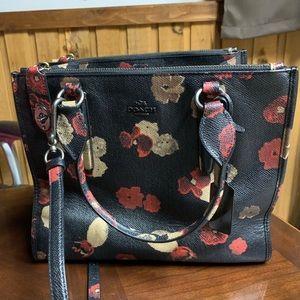 Coach Black Poppy Floral Crossbody Handbag